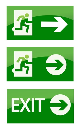 emergency light: Green exit emergency sign