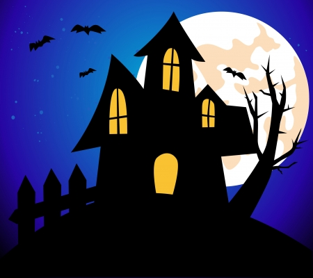 Halloween background with House Illustration