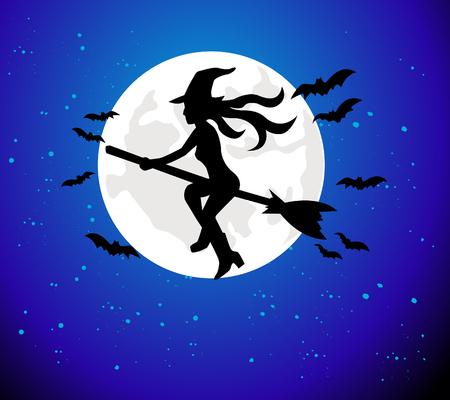 strega che vola: Witch volare oltre la luna