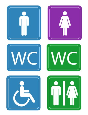 mens: Womens and Mens Toilets  Illustration