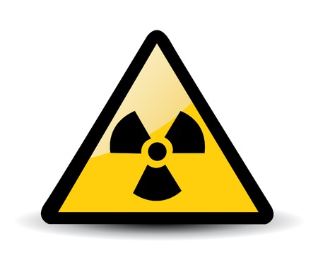 imperil: Yellow triangle sign with a radiation symbol on white Illustration