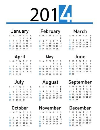 2014 calendar  向量圖像