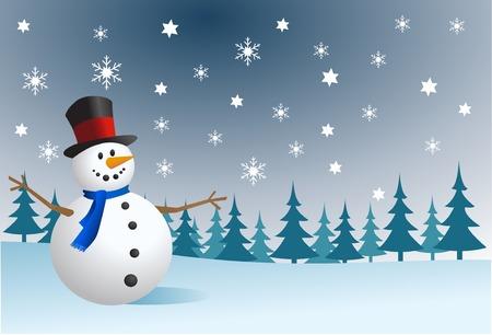 snow scenes: Snowman, vector illustration  Illustration
