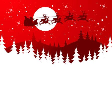 papa noel en trineo: Ilustración de la silueta de Flying Santa y reno de la Navidad