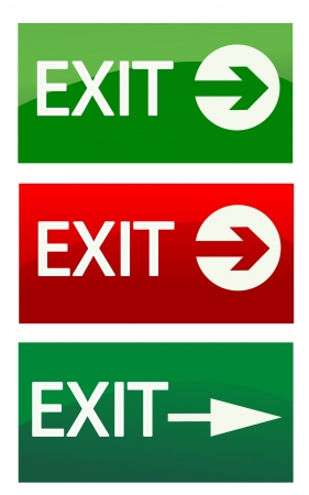 green exit emergency sign: vector exit signs