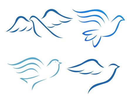 holy  symbol: Ilustración del vector del vuelo de la paloma Vectores