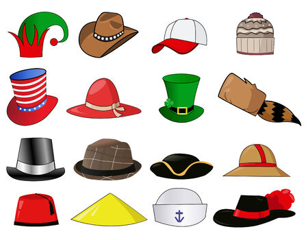bowler hats: Various hats illustration icons