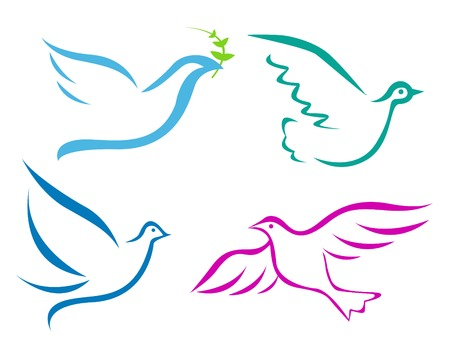 holy spirit: Vector illustration of flying dove