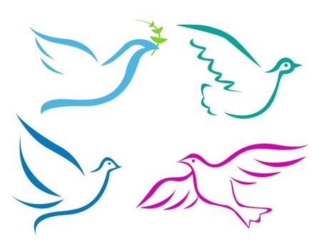 Vector illustration of flying dove  Vector