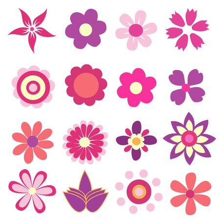 colorful spring flowers vector illustration  Çizim
