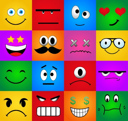 Cartoon Set Of Different Cute Faces  Vector