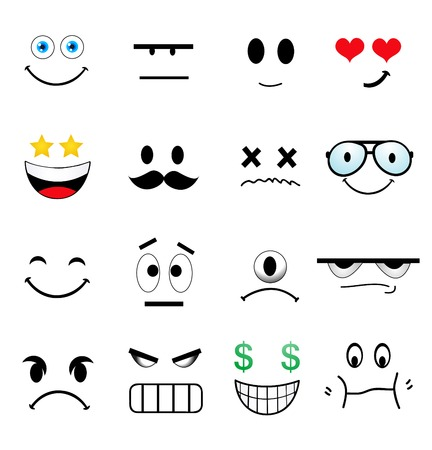 emotion faces: Cartoon Set Of Different Cute Faces  Illustration