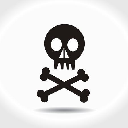 skull and bones: Black vector skull with crossed bones