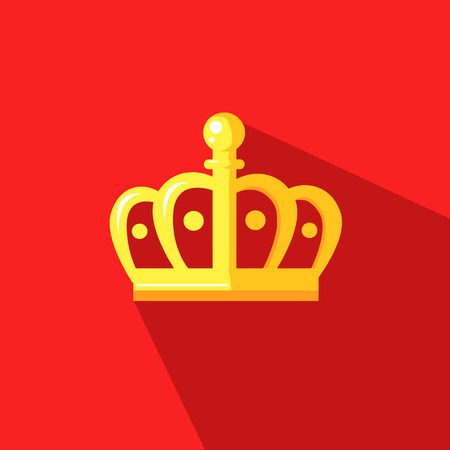 golden crown: illustration of a crown crown in flat design style