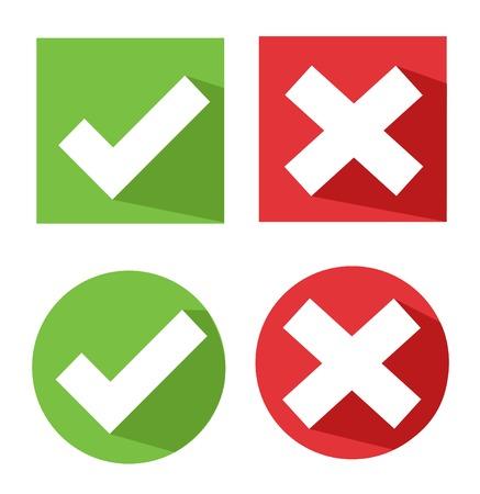 cruz roja: vector iconos de marca de verificaci�n