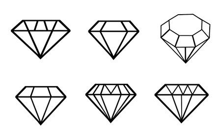 Diamond vector iconen set