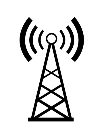 wireless tower: Transmitter icon  Illustration