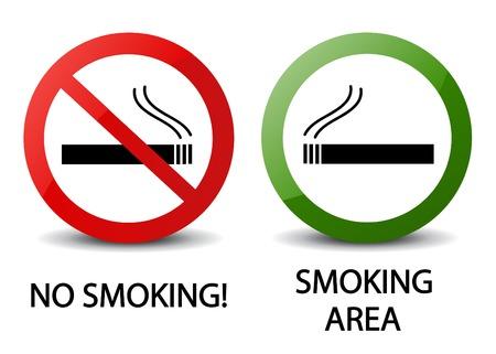 fumando: No fumar y zona de fumadores signos