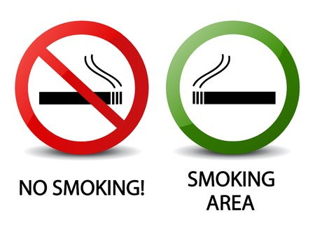 no smoking: No smoking and smoking area signs