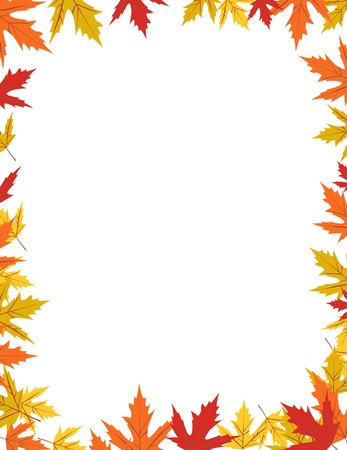 Autumn border design vector illustration Çizim