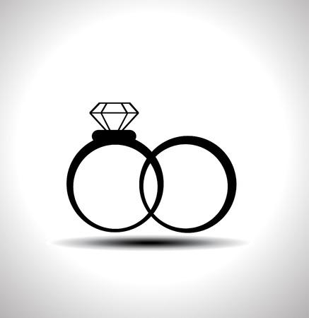 Vector zwart trouwringen pictogram Stock Illustratie