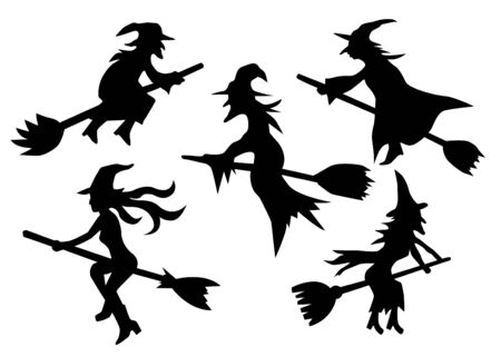 witch silhouette: set of witches