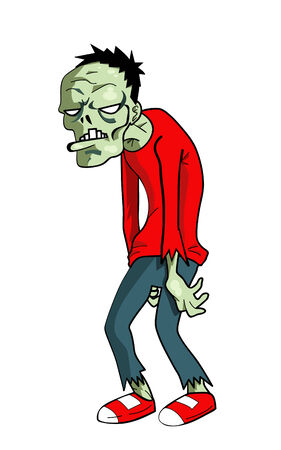 Cartoon illustration of a green zombie Illustration
