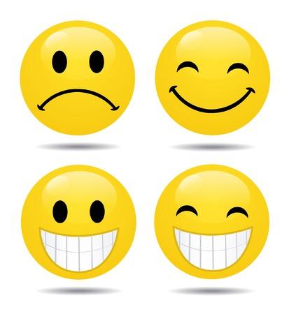 carita feliz caricatura: Vector conjunto de emoticonos brillante Vectores