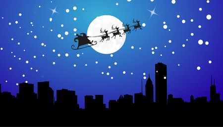 santa sleigh: Silhouette Illustration of Flying Santa and Christmas Reindeer Stock Photo
