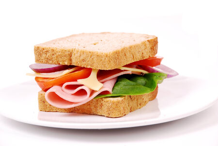ham sandwich: Healthy ham sandwich with cheese, tomatoes on white background