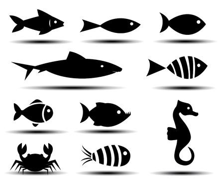 vis: Vissen Pictogrammen Stock Illustratie
