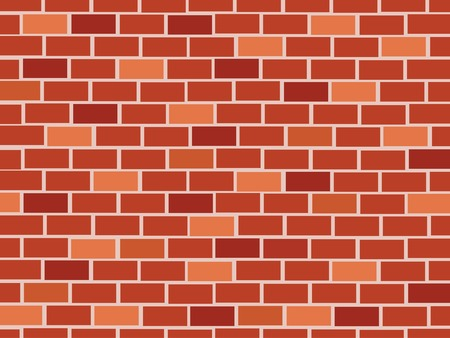 brick facades: Red brick wall seamless Vector illustration background