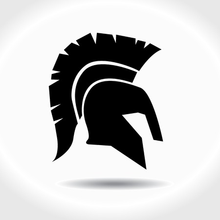 gladiator: Greek, ancient helmet icon isolated on white