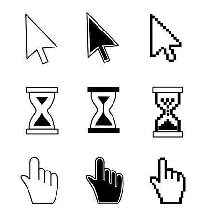 Cursor set - mouse hand arrow hourglass illustration