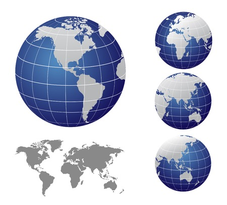 sea world: Vector Map and Globe of the World Illustration