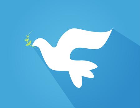 Vector illustration of beautiful shiny white dove flying