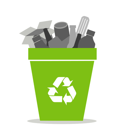 paper recycle: Green recycling bin