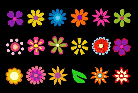 colorful spring flowers vector illustration