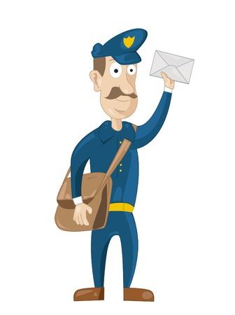 carrier bag: Mail carrier with bag and letter Illustration