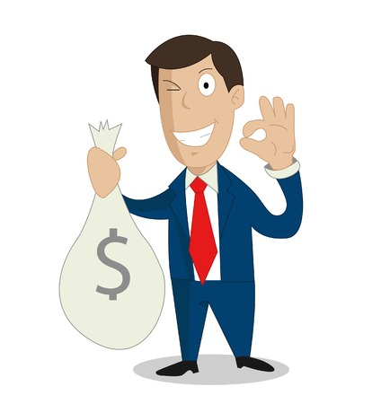 pecuniary: Businessman hands holding money bag