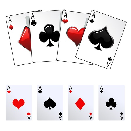 A winning poker hand of four aces playing card