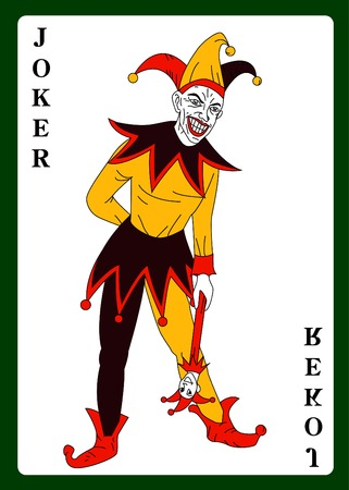 wagers: Joker in colorful costume playing card