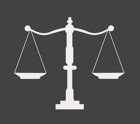 notaris: Justice scale icon Stock Illustratie