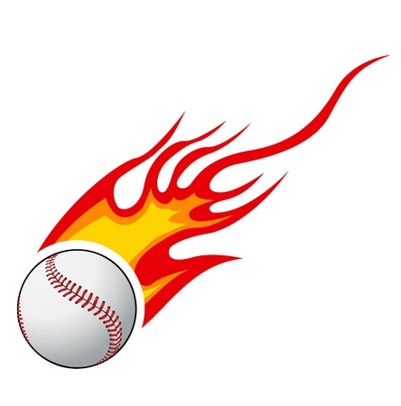 Baseball with flames vector