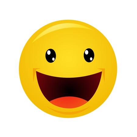 Moderne gele lachen gelukkige glimlach Stock Illustratie