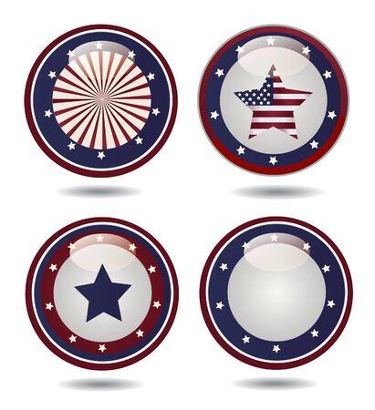 glossy buttons: Stati Uniti bandiera Glossy Buttons