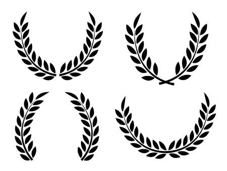 laurel branch: Laurel wreaths set vector isolated