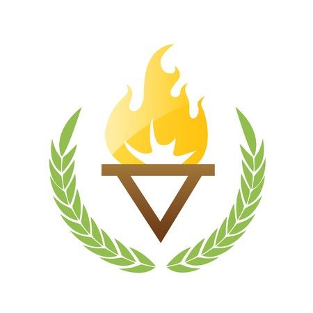 olive leaves: Burning torch with olive leaves Illustration