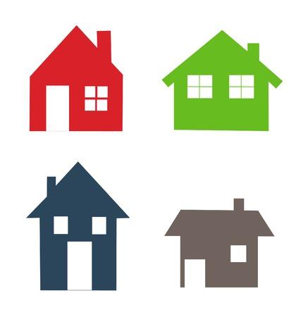 Gekleurde huizen iconen set