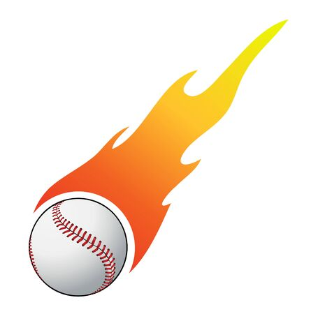 outfielders: Baseball with flames vector